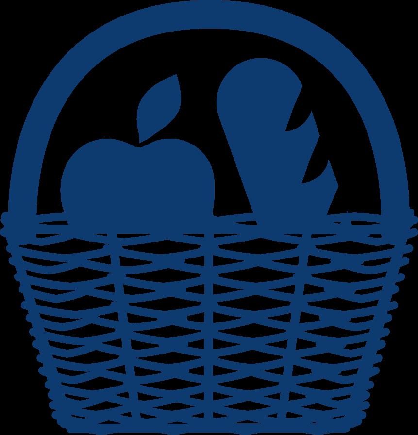 Produkte aus der Region - Korb mit Apfel und Brot
