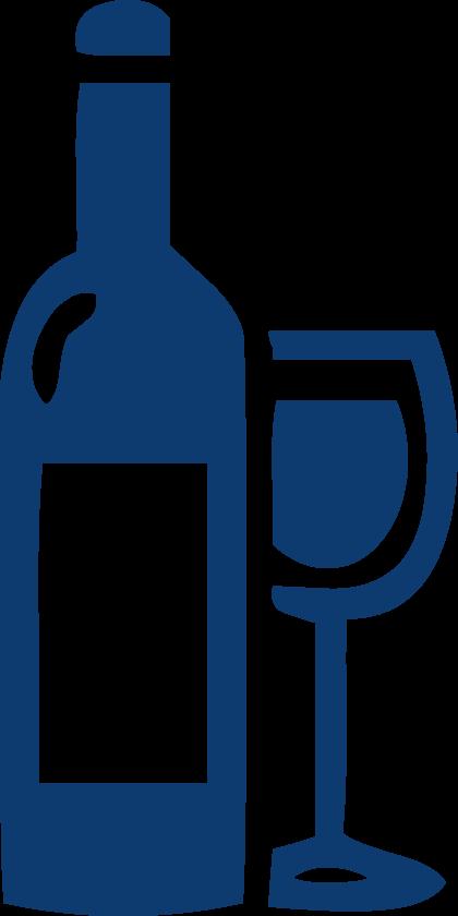Großes Weinsortiment - Weinfalsche und Weinglas